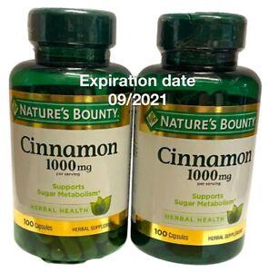 Nature's Bounty Cinnamon 1000mg Per Serving 100 Capsules Ex 09/2021, 2 pack