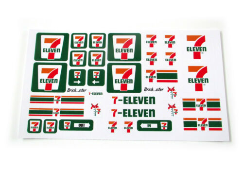 Etc Toys STICKERS for CUSTOM LEGO Seven 11 eleven 7 11 BUILDS