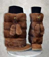 GENUINE real MINK FUR LEG WARMERS / BOOT COVERS furry legwarmer, fits UGGs