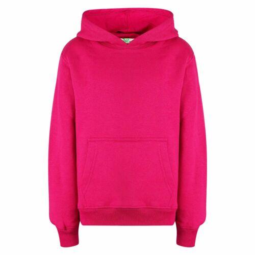 Kids Girls Boys Sweat Shirt Tops Plain Pink Hooded Jumpers Hoodies Age 2-13 Year