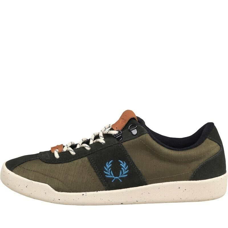 NEW GENUINE Fred Perry Mens Stockport Nylon Suede Trainer Hunting Green 8 UK