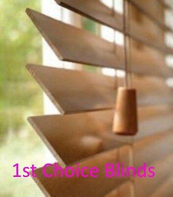 MADE TO MEASURE WOODEN VENETIAN WINDOW BLIND DARK OAK REAL WOOD
