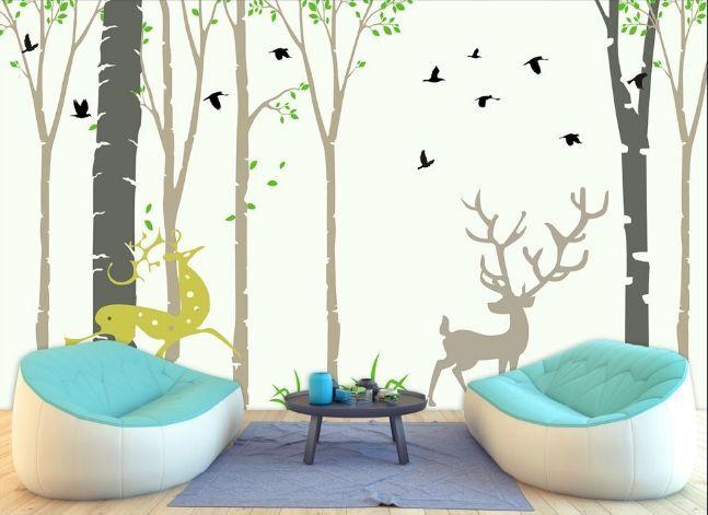 3D Cervi uccelli Parete Murale Foto Carta da parati immagine sfondo muro stampa