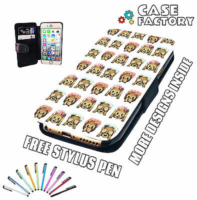 Emoji Monkey Icons Text Funny - Mobile Leather Flip Wallet Phone Case Cover