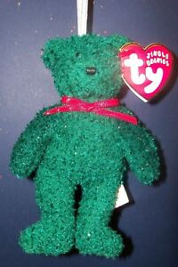 New-5-5-034-JINGLE-BEANIES-TY-2001-Holiday-Teddy-Soft-Toy-Beanie-New-Tagged