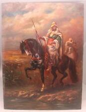 "Hand Painted Oil Painting on Wooden Panel - Arabic Hunter Scene - 16"" x 12"" -"