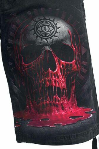 Spiral Direct BLEEDING SOUL Vintage Cargo Shorts Black//Skull//Goth//Blood