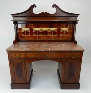 ANTIQUE-English-Inlaid-Mahogany-Marble-Top-Server-Hudson-Valley-NY-estate-50-034