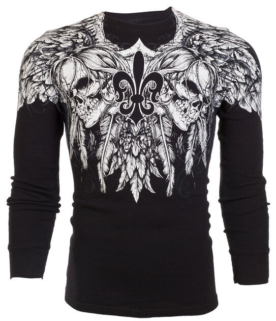 Xtreme Couture AFFLICTION Mens THERMAL T-Shirt GATHERER Tattoo Biker M-3XL $58 a