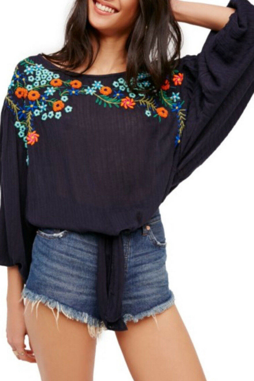 Free  People OB610130 Up And Away Embroiderojo Floral Blouse Top Indigo azul  168  envío gratuito a nivel mundial