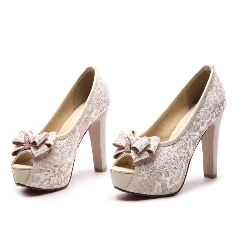 Damen Schuhe Pumps Peeptoe Schleife Schleife Schleife Sexy High Heels Elegant Fashion Party 33-43 a7baad