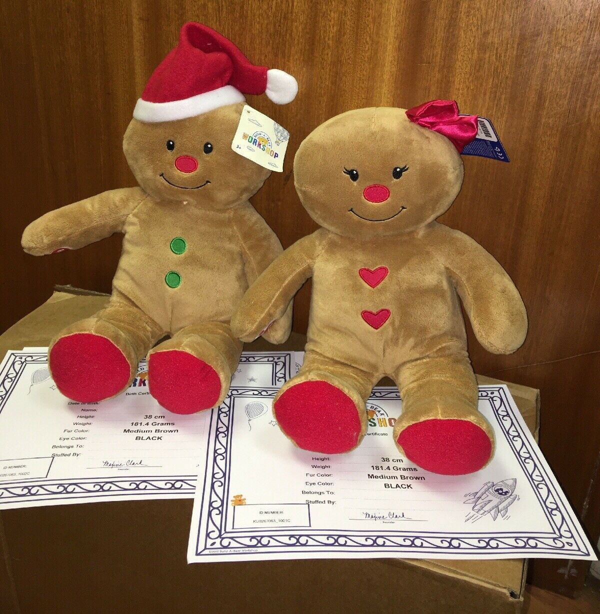 BUILD A BEAR FACTORY XMAS GINGERBREAD BOY & GIRL WITH TAGS