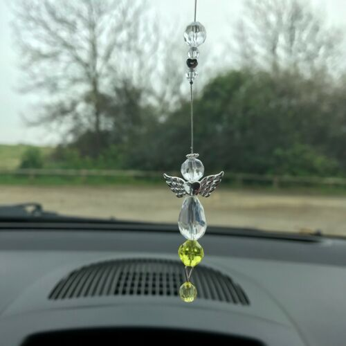New Hanging Car Charm ~ Sun Catcher Yellow Guardian Angel ~ Memorial, Gift Idea