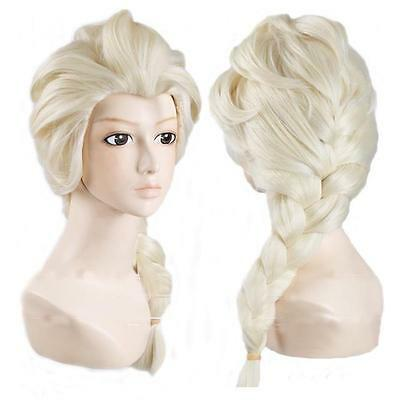 Beautiful Frozen Princess Elsa Snow Queen Adult Wig Blonde Braid Dressing Up