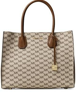 9c36de4499c8 Image is loading NEW-MICHAEL-Kors-Signature-Mercer-Large-Convertible-Tote-
