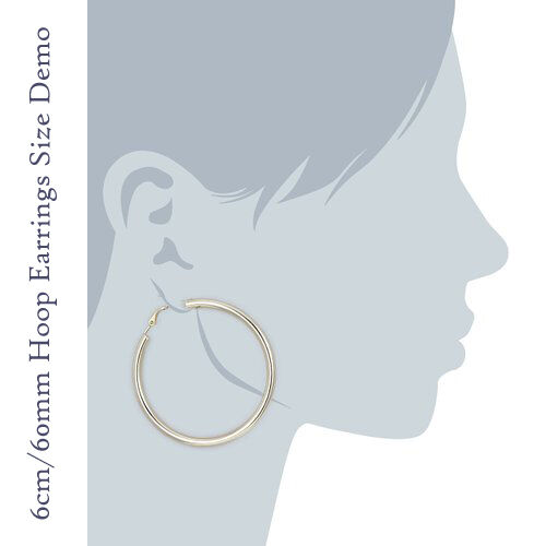 Gran Gran Golden Ear hoop18k Oro 60mm 6 Cm Enchapado En Oro níquel libre pendientes