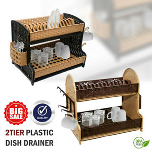 2-Tier-Plastic-Double-Drip-Tray-Dish-Drainer-Drying-Rack-Cutlery-Cup-Holder-ND-C