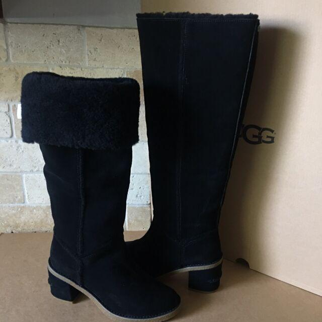 clear-cut texture distinctive style prevalent UGG KASEN II TALL BLACK SUEDE SHEEPSKIN CUFF ZIP KNEE HIGH BOOTS SIZE 11  WOMENS