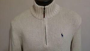 Polo-Ralph-Lauren-White-1-2-Zip-Sweater-100-Cotton-Solid-Men-Large-Ivory-L