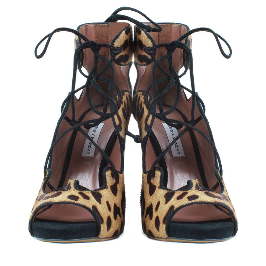 Tabitha Simmons Reed Leopard Print Pelt Lace-Up Reed Simmons Sandale Ankle Stiefel IT36.5 UK3.5 42fb5d