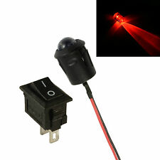 Grande 10 Mm Led Intermitente Rojo Auto Moto arrojar falsa falsa alarma + Interruptor 12v