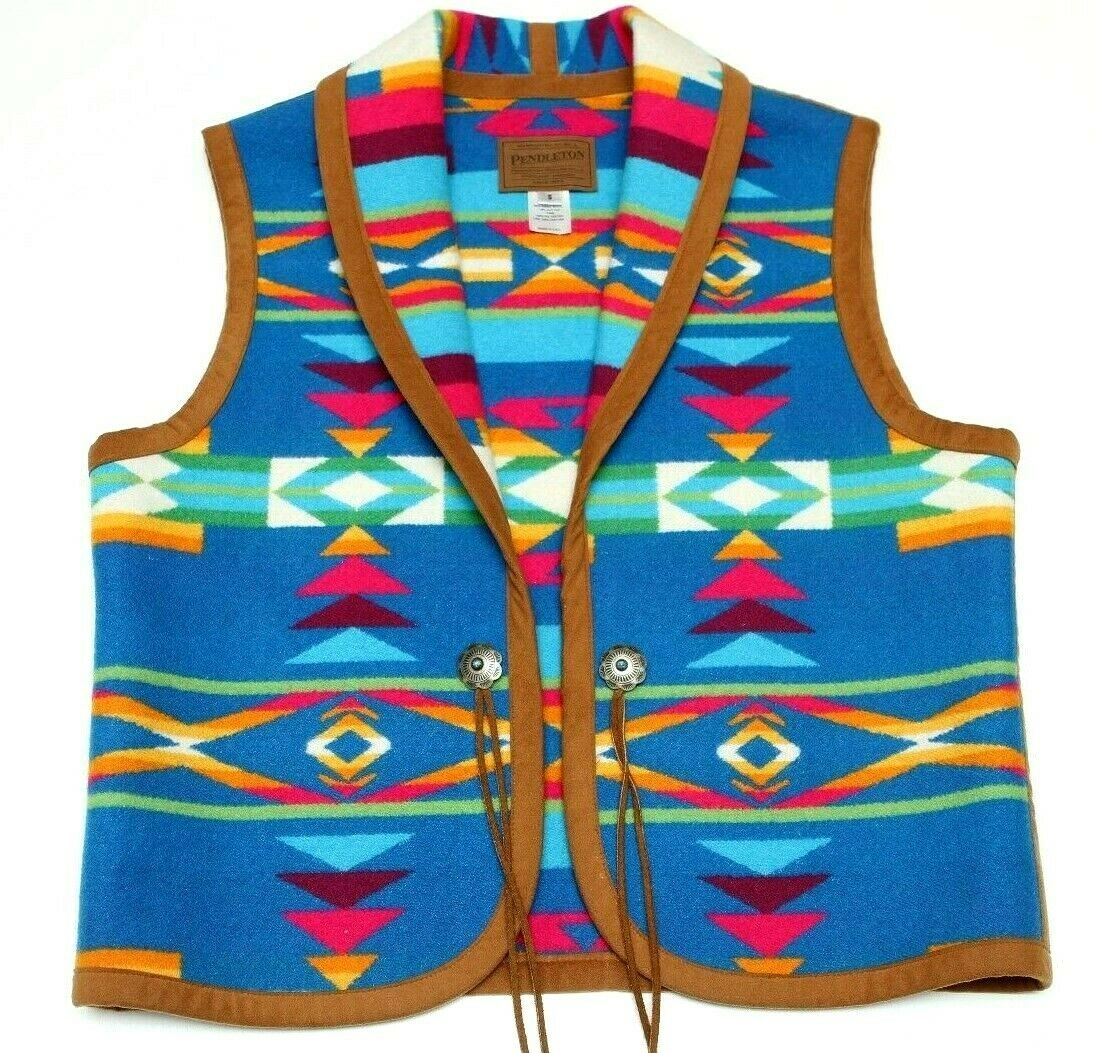 NWOT Pendleton Women's Blanket Vest Native Aztec Western Made In USA Sz Small