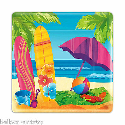 "8 Tropical Luau SUMMER SURF Holiday Party Disposable 7"" Square Paper Plates"