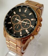 Mens Watch Rose Gold Metal Strap Classic Black Dial Date Designer Smart New UK