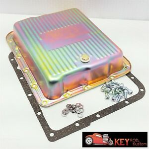 700R4 4L60E chrome transmission pan with gasket /& bolts stock depth GM automatic