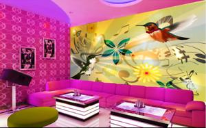 Papel Pintado Mural De Vellón Música Pájaro De Flores 23 Paisaje Fondo Pansize