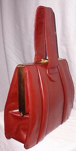 Fabulous-Vintage-1940-039-s-Reddish-Brown-Calf-Leather-Massive-Size-Box-Bag-Handbag