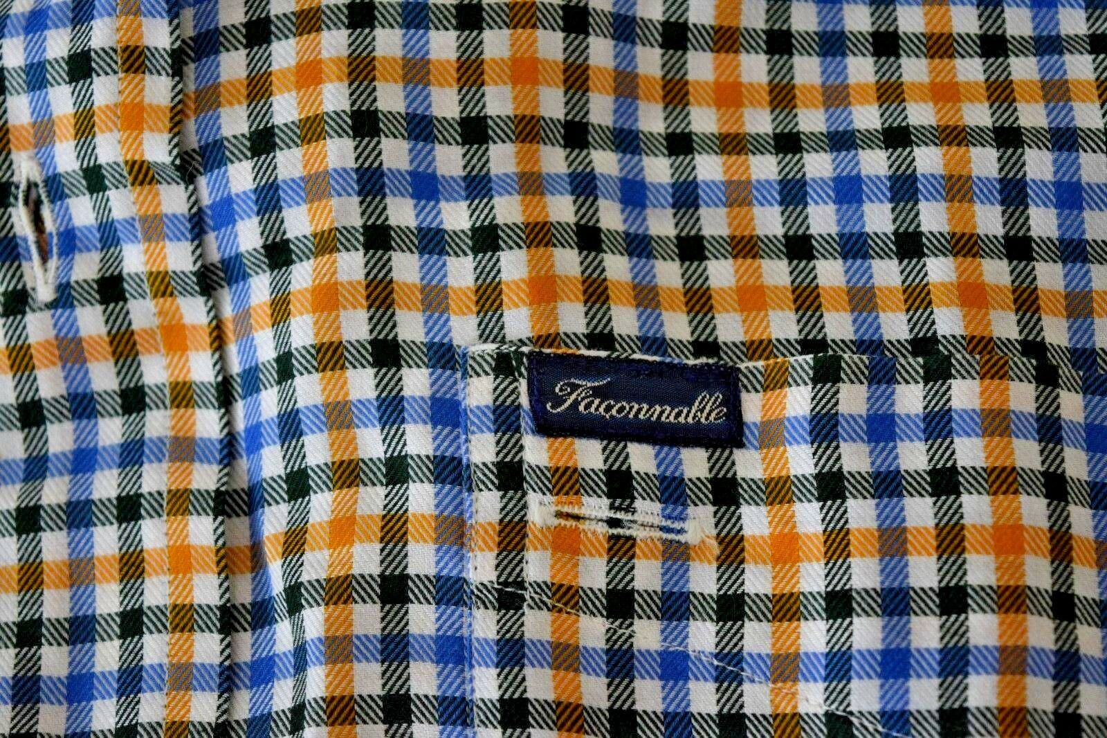 FACONNABLE Men's Shirt XXL Striped Casual Multi color Button Down Camp France
