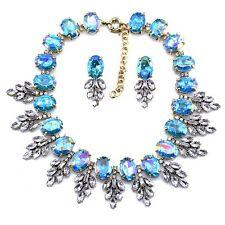 NEW ELEGANT ZARA BLUE CLEAR GLASS STONES NECKLACE + EARRINGS SET - NEW