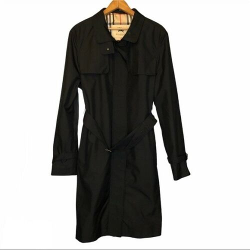 Burberry London Tess Black Trench Coat, Size 16, G