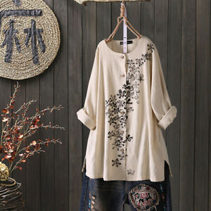 ZANZEA-Femme-100-coton-Imprime-floral-Manche-Longue-Col-Rond-Simple-Shirt-Haut