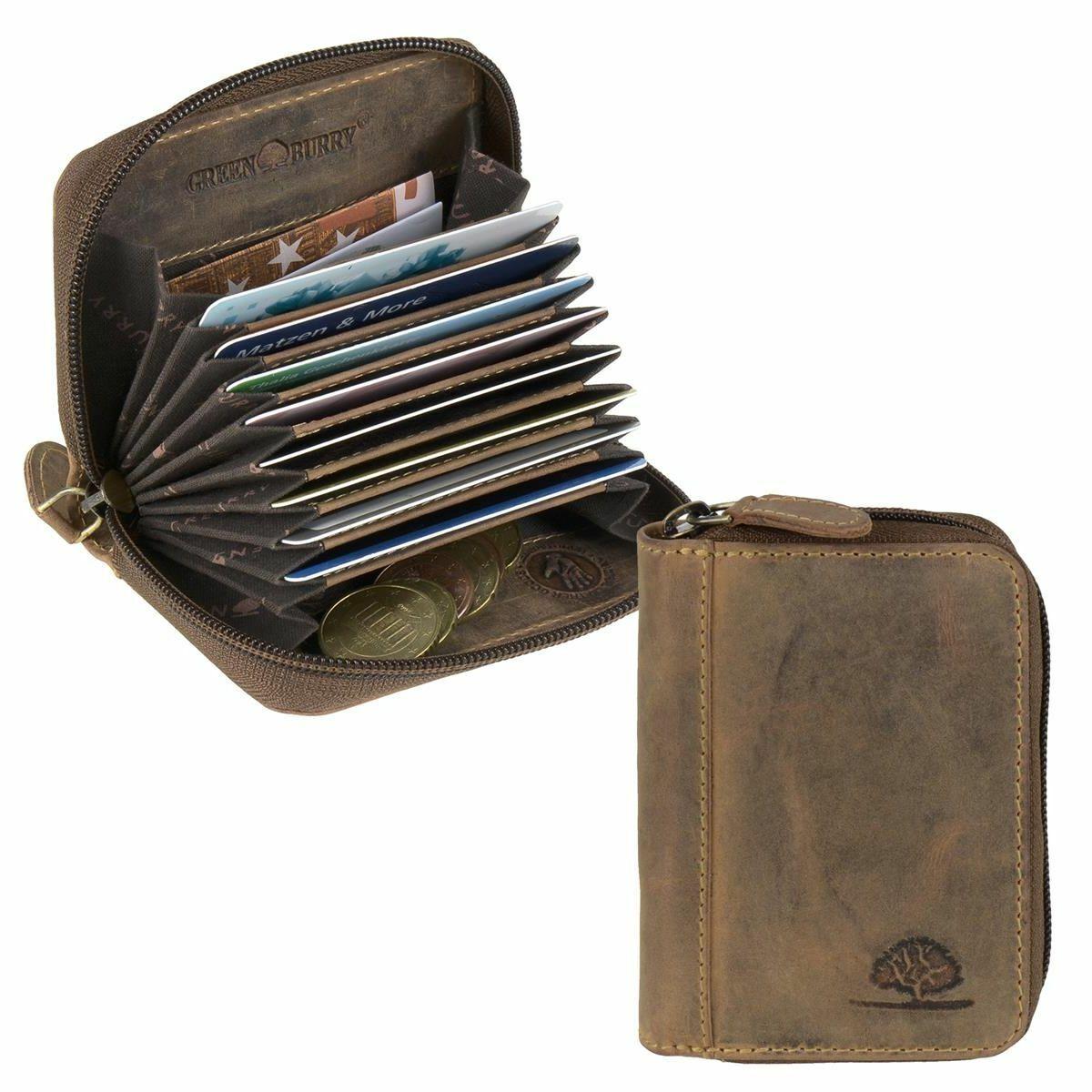 Greenburry Kartenetui Kartenbörse Leder mit 8 Kartenfächern und RFID Schutz neu