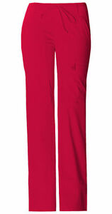 Fit Cherokee Scrubs Women/'s Cargo Pants 21100 Red REDV Cherokee Luxe Jr