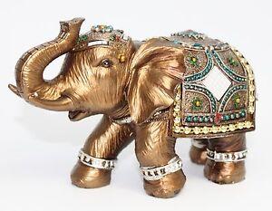 Feng Shui 6 Elegant Elephant Trunk Statue Lucky Figurine