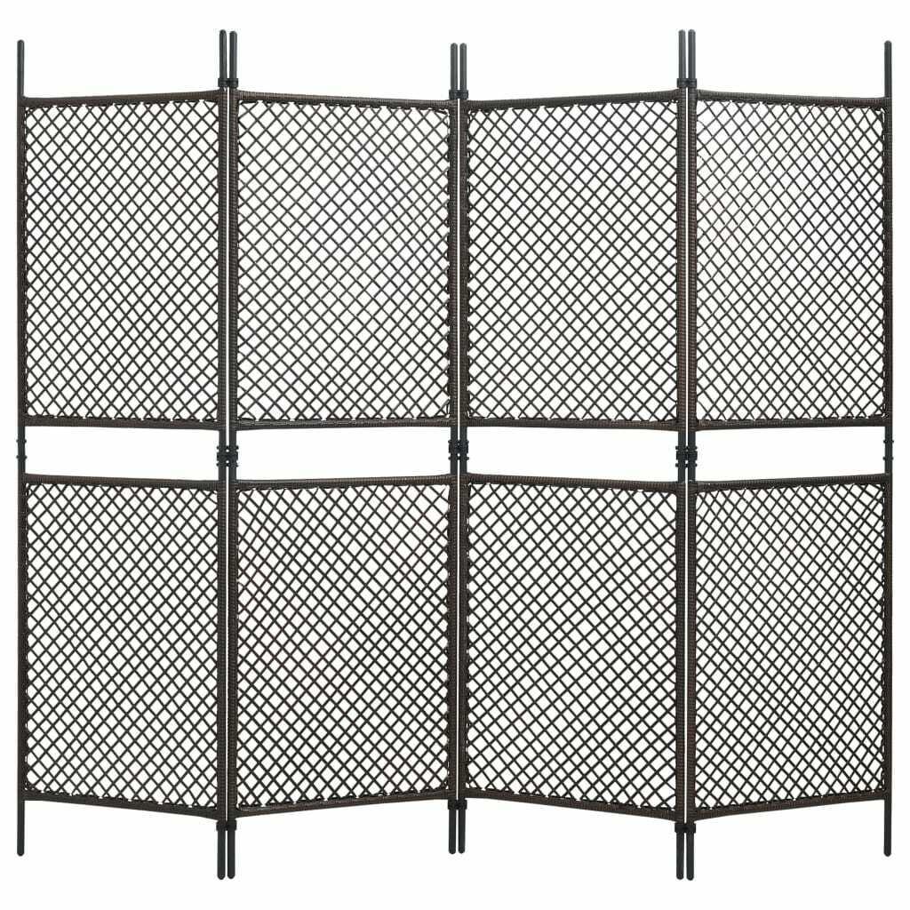 vidaXL Panel de Valla Ratán Sintético Marrón 2,4x2 m Patio Jardín Pantalla