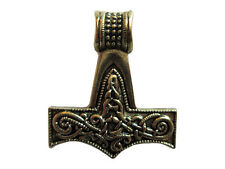 Thor's Hammer, 1 1/2 inch Gold Tone Pewter Pendant on Cord Necklace #SHI-P605g