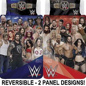 WWE-2K17-Face-Vs-Heel-Single-Panel-Duvet-Cover-Bed-Set-Gift-2-in-1-Reversible