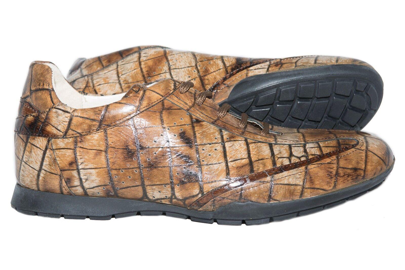 Twenty 8402 italiano para hombre de cuero marrón de impresión Elegante Con Cordones Zapatillas