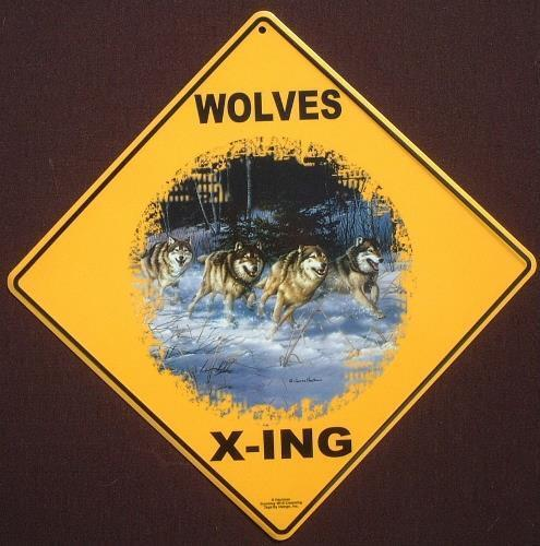WOLF X-ING Sign  16 1//2 by 16 1//2 NEW  decor wolves novelty signs home animals