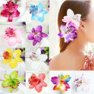 2PCS-SET-Bridal-Wedding-Orchid-Flower-Hair-Clip-Barrette-Women-Girls-Accessories