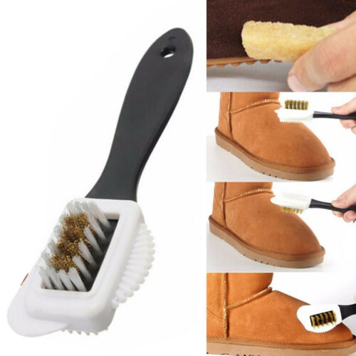 3-Sides Cleaning Brush Copper Plastic For Suede Nubuck Shoes Boot Cleaner New