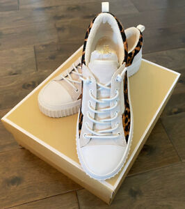 NEW Michael Kors Oscar Calf Hair Leather Lace Up Women's Sneakers Size 7 7.5 NIB