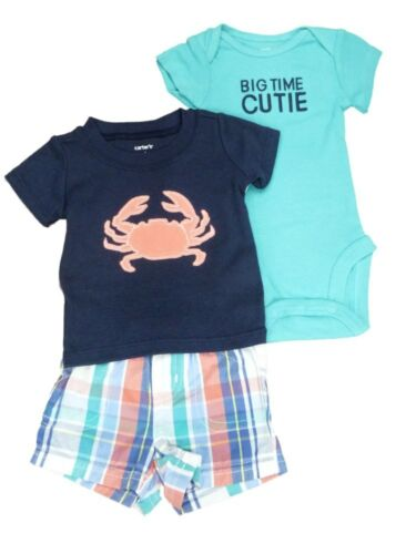 Carters Infant Boy 3 Piece Blue Big Time Cutie Crab Shirt Shorts Creeper Set NB