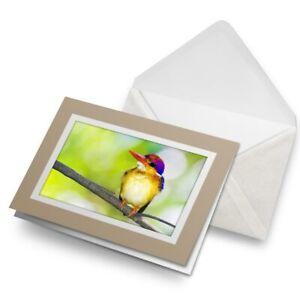 Greetings-Card-Biege-Thailand-Oriental-Dwarf-Kingfisher-Bird-16196