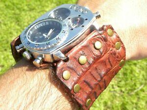 Bison-and-Alligator-Leather-dual-time-wristwatch-biker-Men-cuff-Watch-bracelet