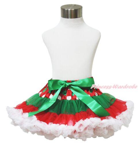 XMAS Red Kelly Green Dots White FULL Pettiskirt Skirt Dance Tutu Girl 1-8Y